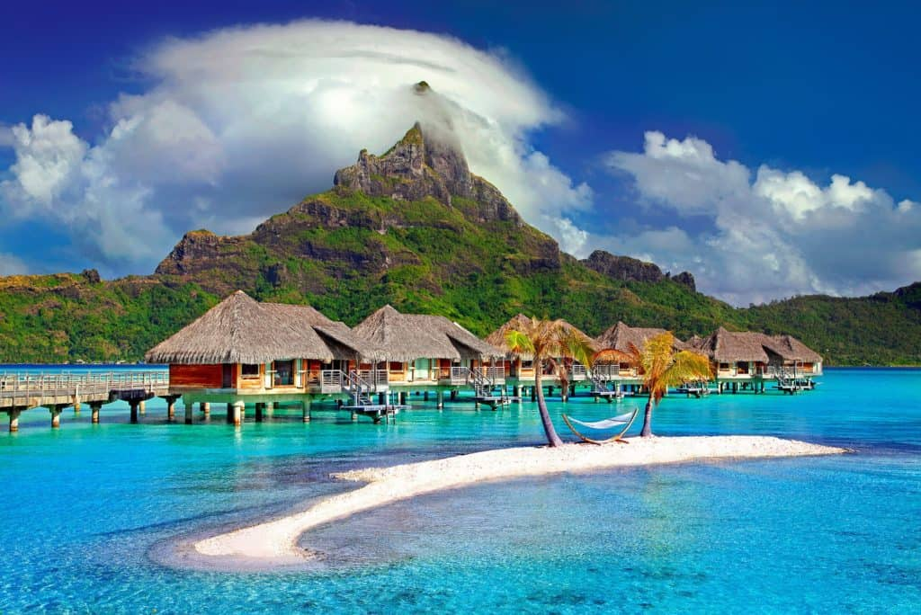 A photo of the huts on the water at Bora Bora.