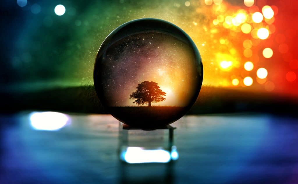 An image of a crystal ball with a tree that can be seen through it and a rainbow colored background.