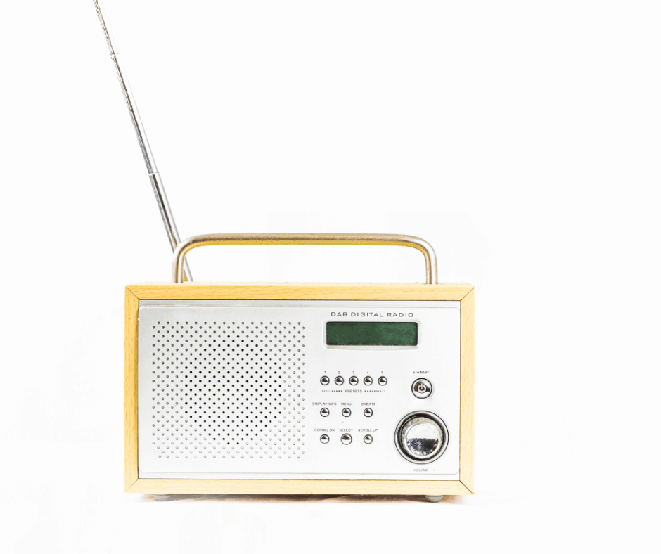 An image of a radio with a tuning dial.