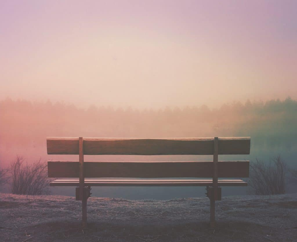 An image of a park bench patiently waiting for someone to come sit on it.