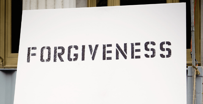 An image of a sign with the word forgiveness written on it