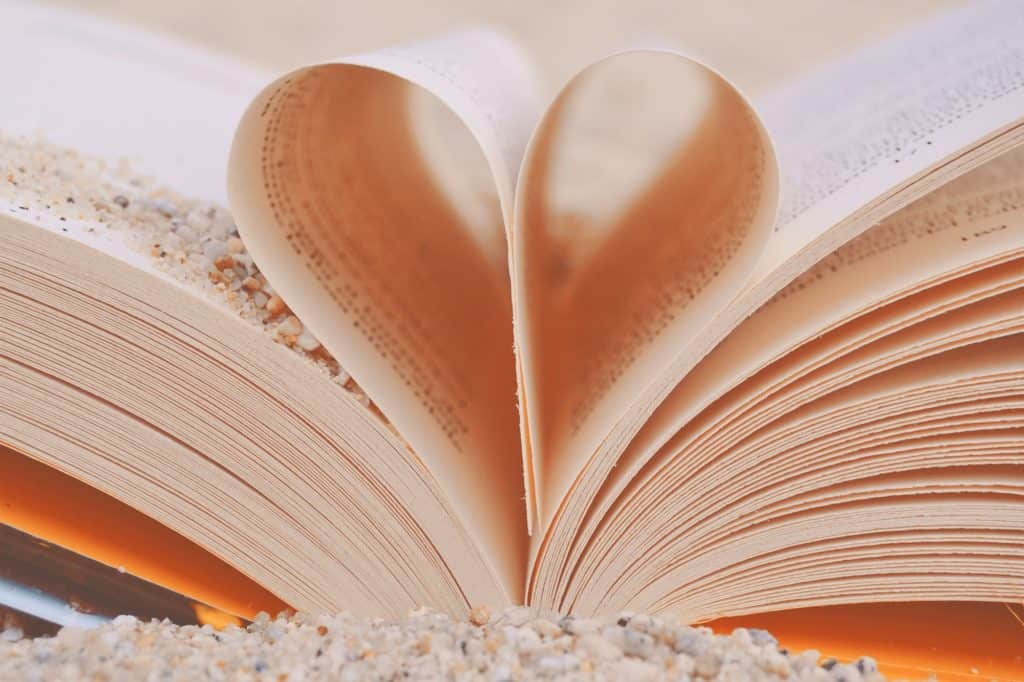 An image of a book with it's pages folded into a heart.