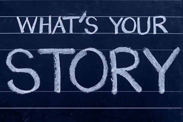 "An Image of a Blackboard with the words ""What's your story"" written on it."