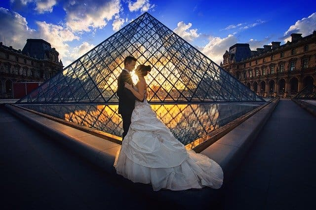 An image of Mr. & Ms. Right in front of The Louvre.