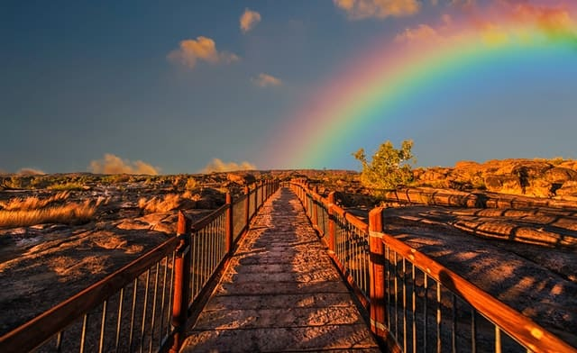 An image of a path with a rainbow above.